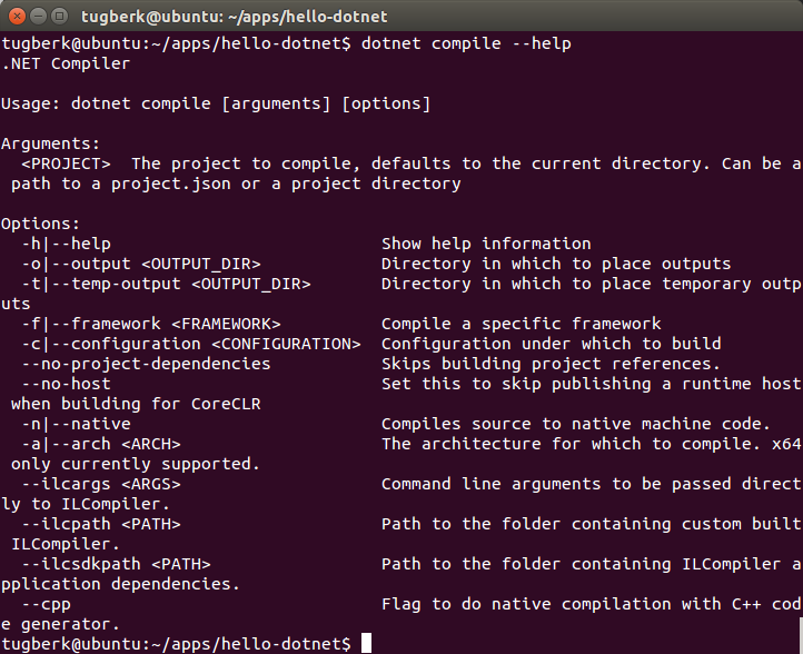 Having a Look at dotnet CLI Tool and  NET Native Compilation