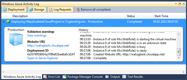 Windows Azure Visual Studio Deployment