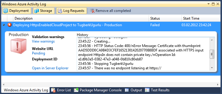 Windows Azure Visual Studio Deployment Error