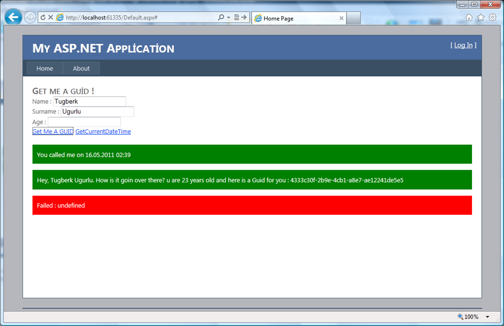 ASP NET Web Forms : Calling Web Service Page Methods Using JQuery